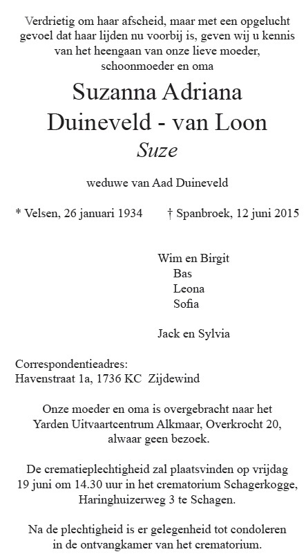Advertentie Suze Duineveld